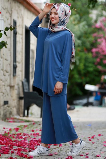 Gamze Özkul Mavi Basic Tunik & Pantolon İkili Takım