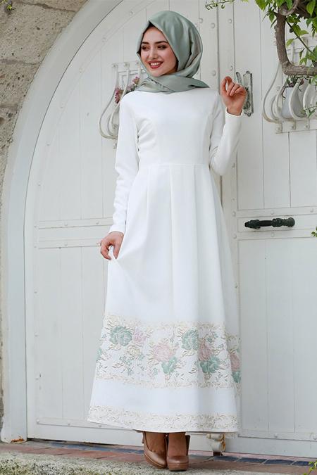 Gamze Özkul Mint Beyaz Dream Abiye Elbise