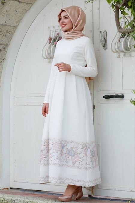 Gamze Özkul Pudra Beyaz Dream Abiye Elbise