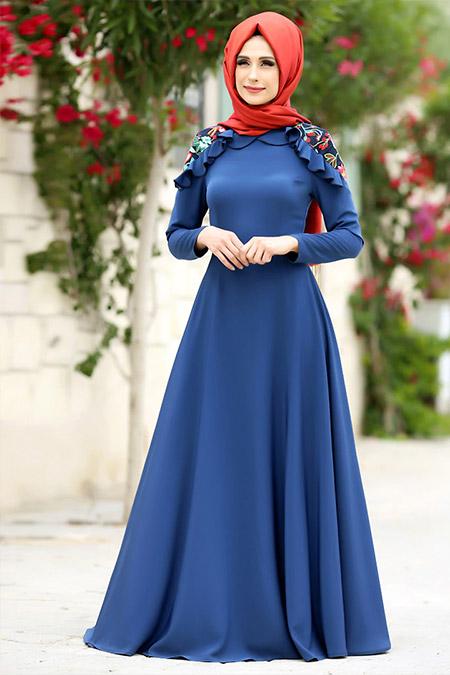 Gizem Kış İndigo Çağla Elbise