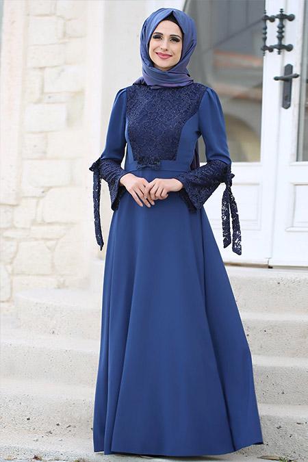 Gizem Kış İndigo Asil Elbise