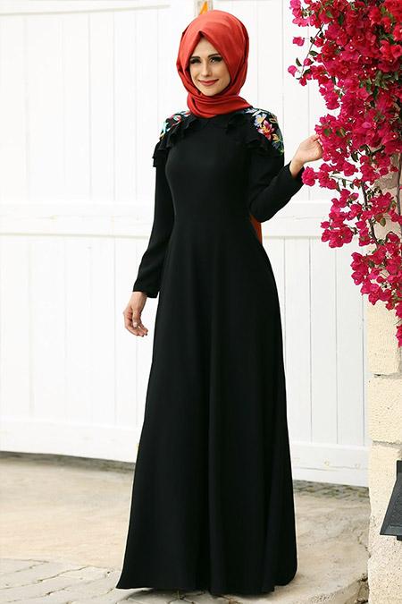 Gizem Kış Siyah Çağla Elbise