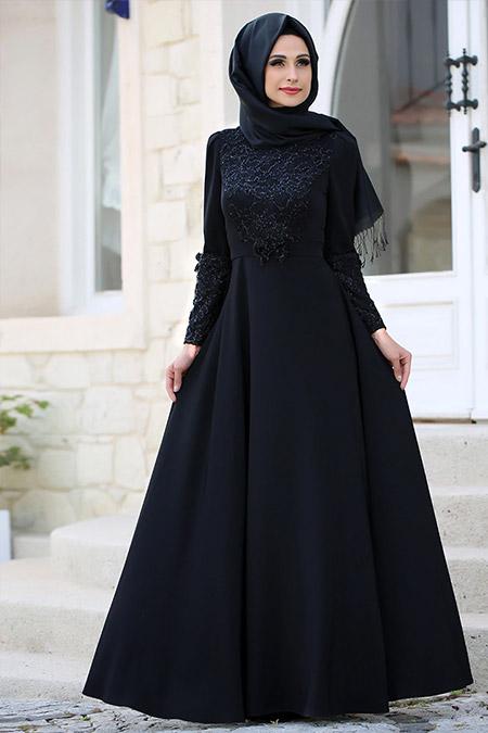 Gizem Kış Siyah Asil Elbise