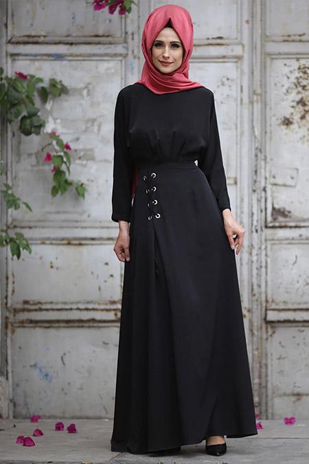 Gizem Kış Siyah Kuş Gözü Detaylı Elbise