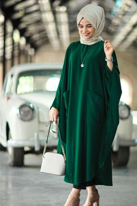 HAREM İSTANBUL Zümrüt Yeşil Elbise