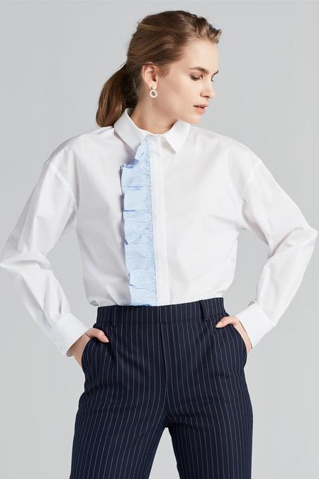 İpekyol Beyaz Pati Fırfır Şeritli Gömlek