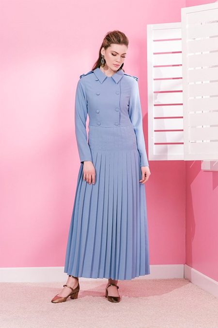 MİHA Açık Mavi Trench Elbise
