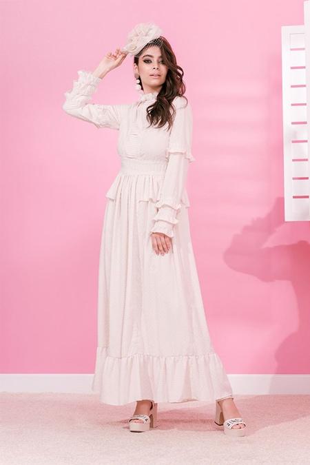 MİHA Ekru Romantik Elbise
