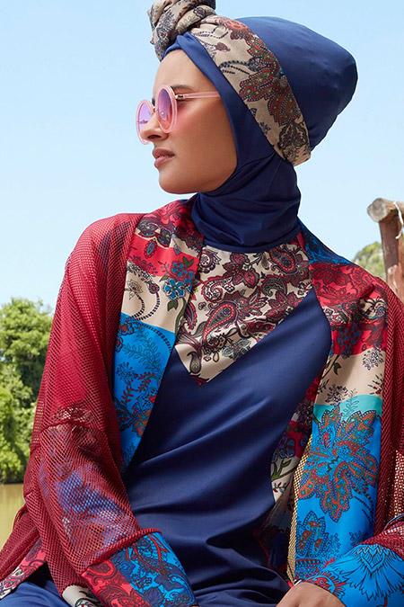 Mayovera Bordo Şal Desenli Tasarım Kimono