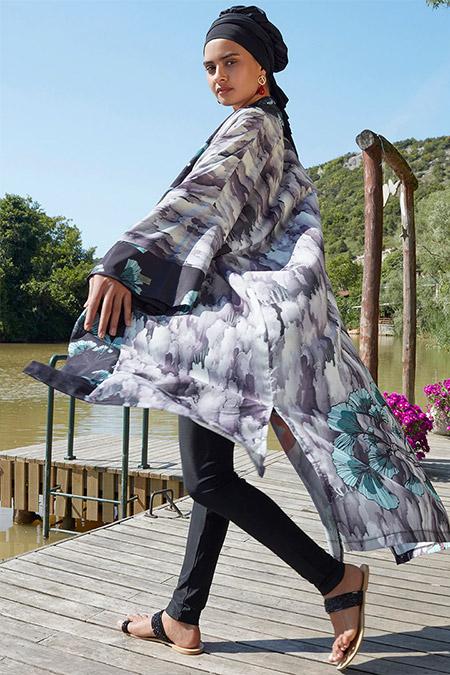 Mayovera Karışık Renkli Japon Tasarım Kimono