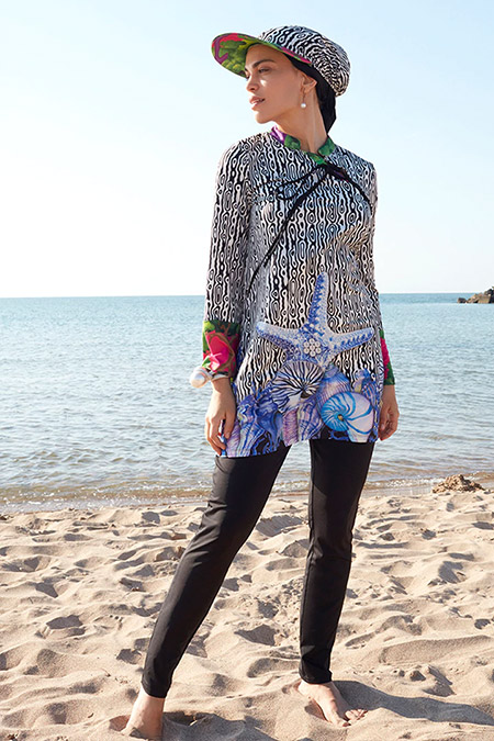 Mayovera Lacivert İnci İstiridyeli Kimono Tasarım Mayo