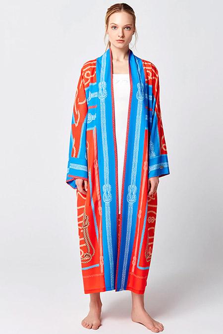 Mayovera Mercan Turkuaz Marina Tasarım Kimono