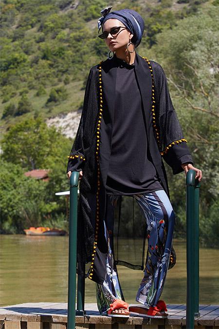 Mayovera Siyah Ponponlu Tasarım Kimono