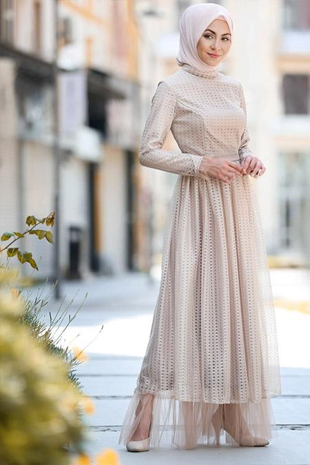 Minel Aşk Bej Tül Detaylı Elbise