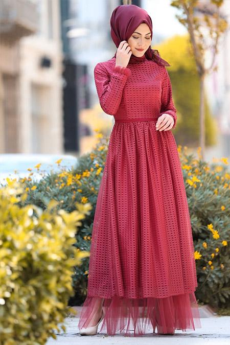 Minel Aşk Bordo Tül Detaylı Elbise