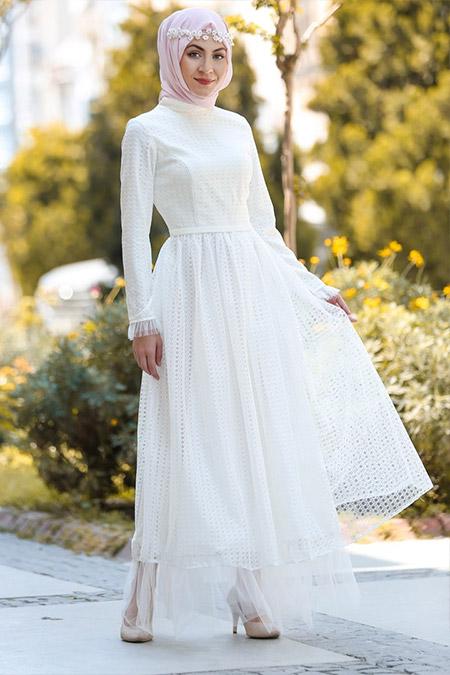 Minel Aşk Ekru Tül Detaylı Elbise