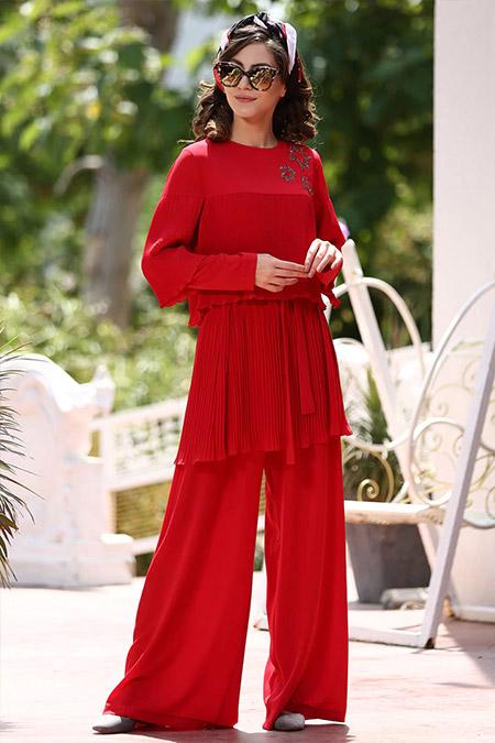 Minel Aşk Kırmızı Tunik&Pantolon İkili Takım