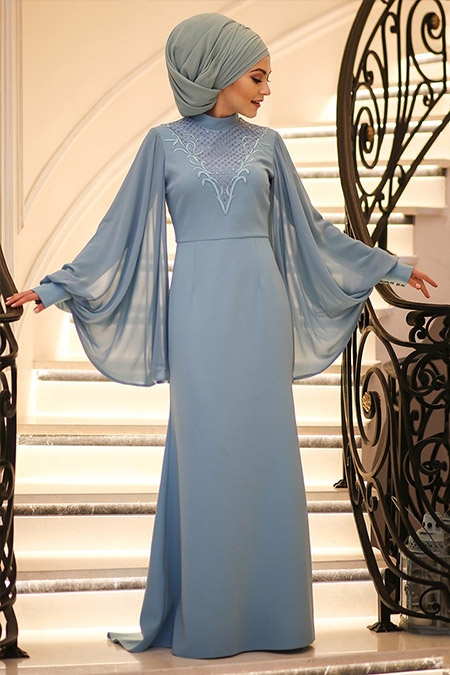 Minel Aşk Mavi Pul Payet İşlemeli Elbise
