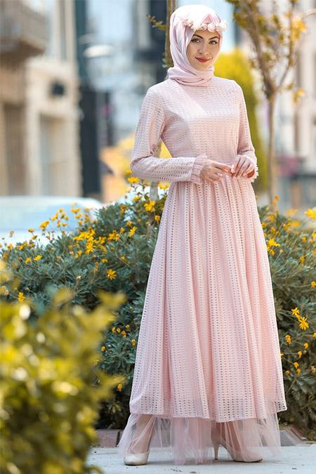 Minel Aşk Pudra Tül Detaylı Elbise