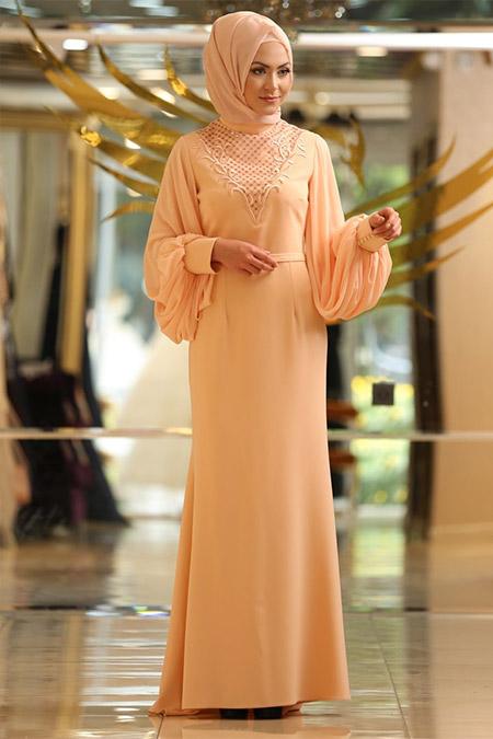Minel Aşk Somon Pul Payet İşlemeli Elbise