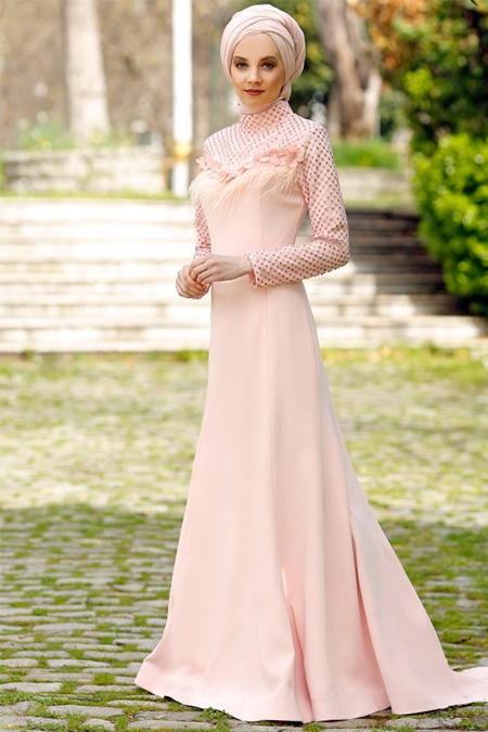 Minel Aşk Somon Taşlı Elbise
