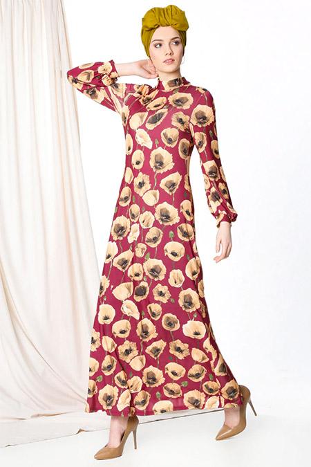 MisCats Bordo Çiçek Desenli Elbise