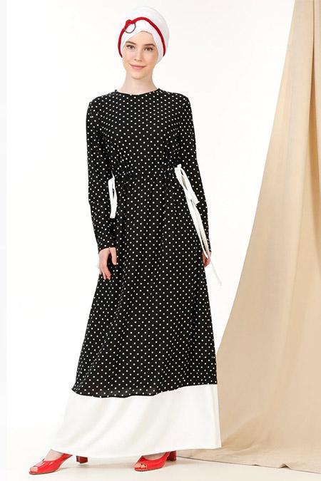 MisCats Siyah Beyaz Puantiyeli Elbise