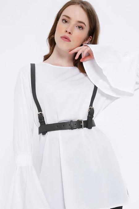 Missemramiss Beyaz Kemer Detaylı Tunik
