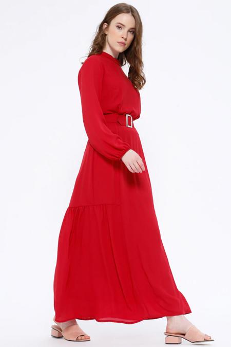 Missemramiss Kırmızı Kemerli Elbise