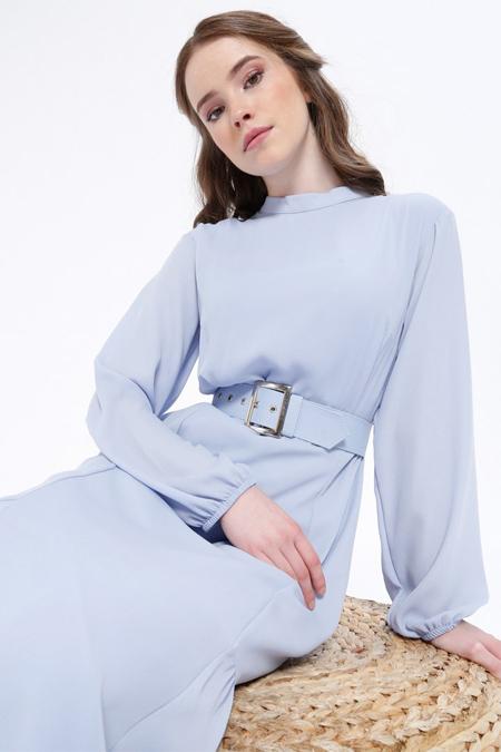 Missemramiss Mavi Kemerli Elbise