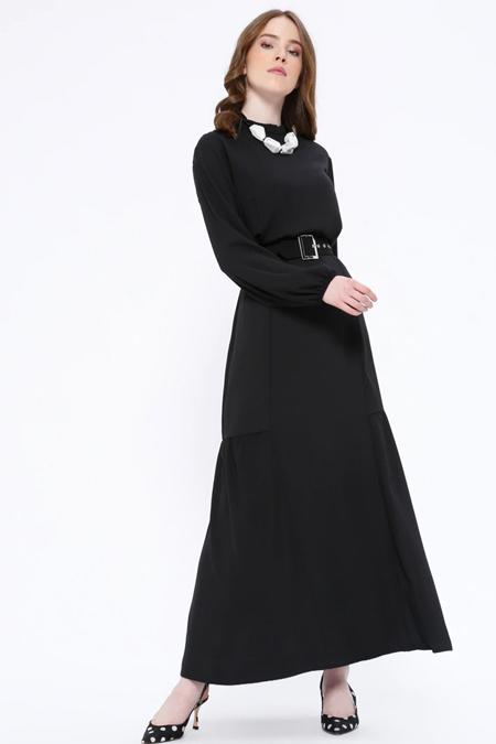 Missemramiss Siyah Kemerli Elbise