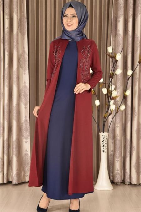 Modamerve Bordo Lacivert İnci İşlemeli Çift Parça Görünümlü Elbise