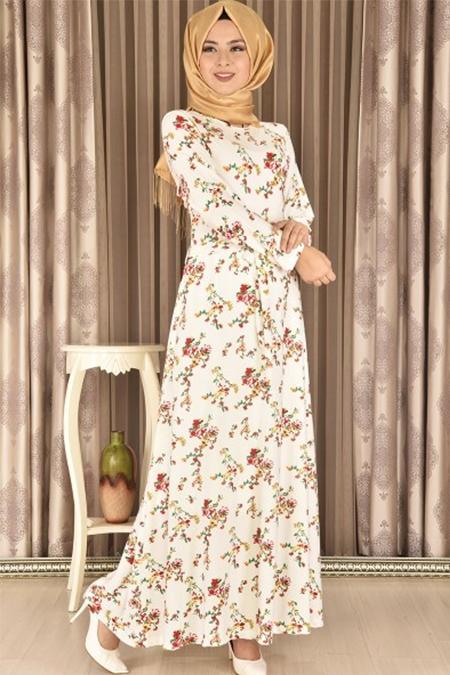 Modamerve Kırmızı Kuşaklı Küçük Çiçekli Elbise