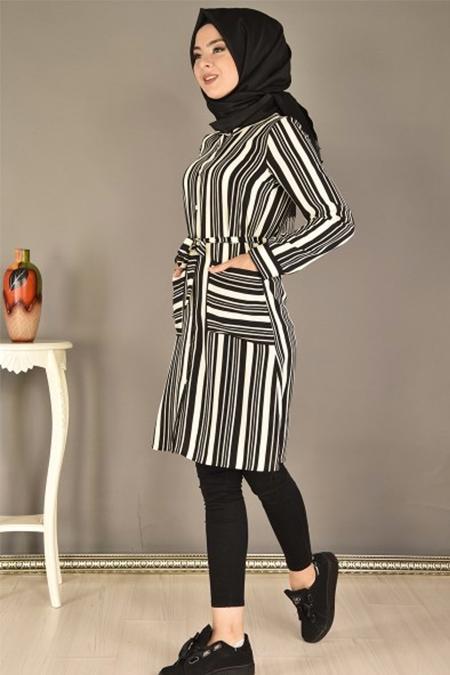 Modamerve Siyah Cepli Kuşaklı Düğmeli Tunik
