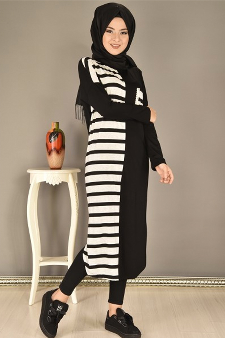 Modamerve Siyah Dantel Cepli Çizgili Tunik