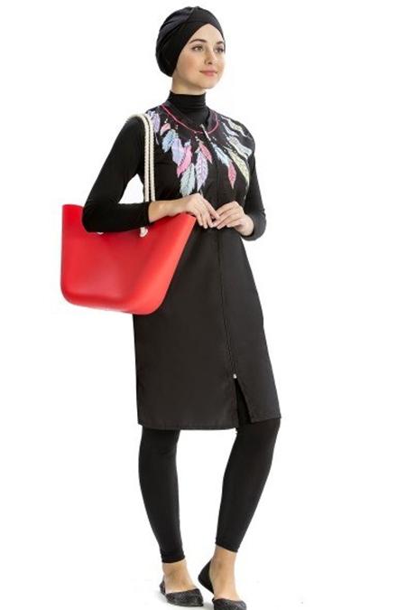 Modamerve Siyah Desenli Yelekli Uzun Kol Tesettür Mayo