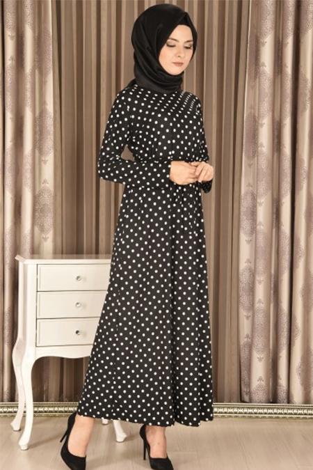 Modamerve Siyah Kuşaklı Puanlı Elbise