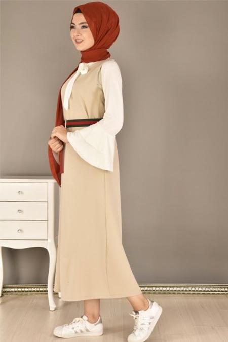 Modamerve Vizon Kemerli Jile Elbise