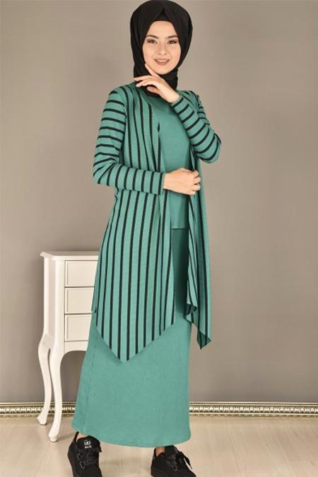 Modamerve Yeşil Çizgili Hırka Bluz Etek Üçlü Kombin