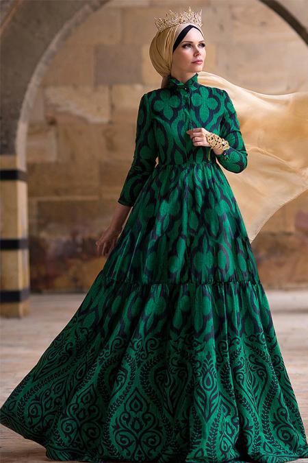 Muslima Wear Zümrüt Yeşili Green Diamond Abiye Elbise