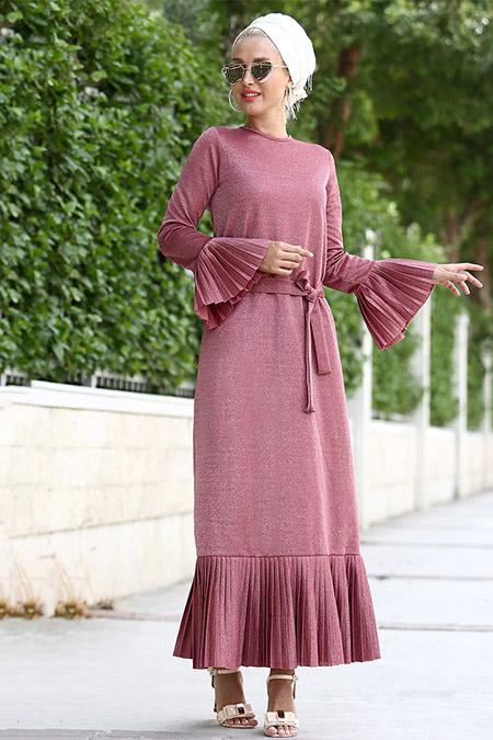 Myzen Pembe Simli Uzun Elbise