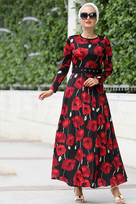 Myzen Siyah Bordo Piliseli Uzun Elbise
