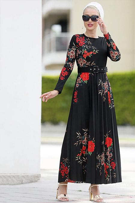 Myzen Siyah Kahve Piliseli Uzun Elbise
