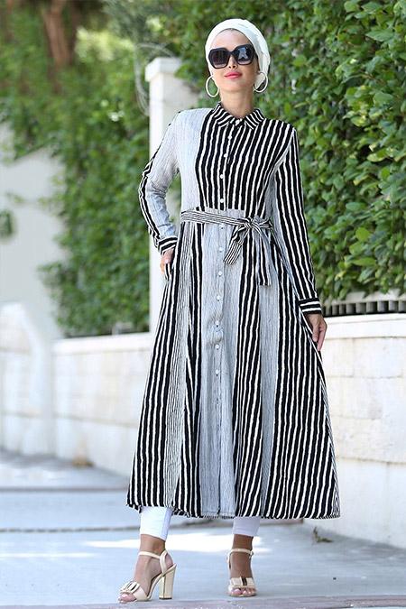 Myzen Siyah Kalın Çizgili Uzun Elbise Tunik