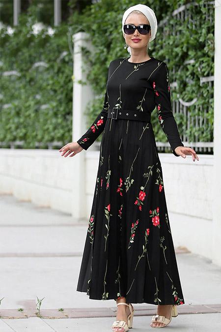 Myzen Siyah Piliseli Uzun Elbise