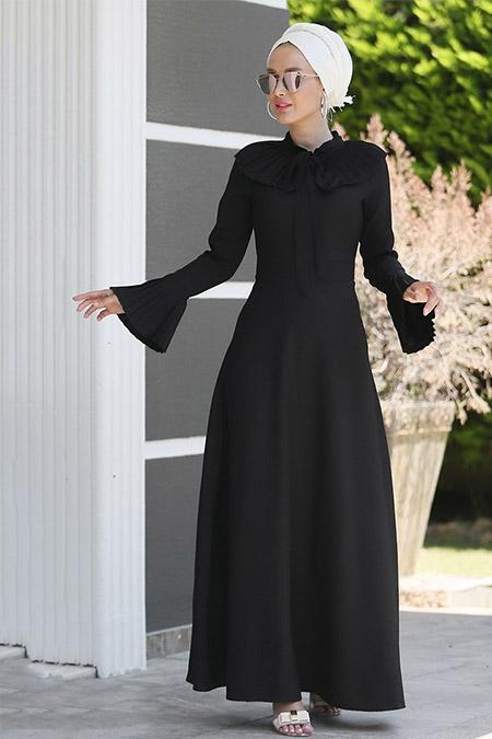 Myzen Siyah Yaka Kol Fırfırlı Elbise