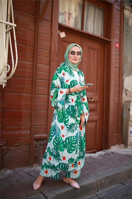 NURNİSA boutique Açık Yeşil Palmiye Kimono Takım