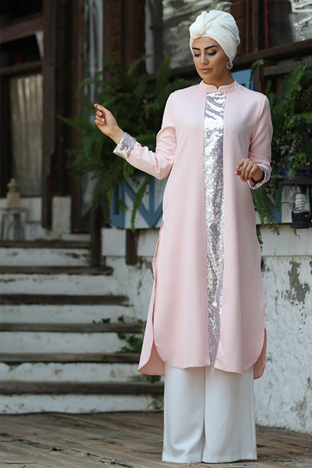 Neslihanedan Pudra Melek Tunik&Pantolon İkili Takım