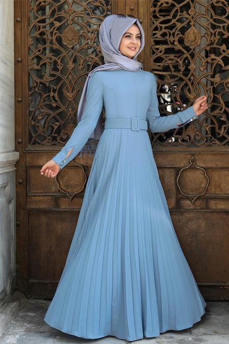 Pınar Şems Mavi Piliseli Elbise