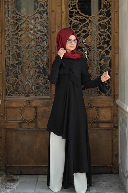 Pınar Şems Siyah Kelebek Tunik